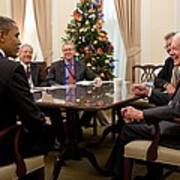 President Obama Talks With Former Poster