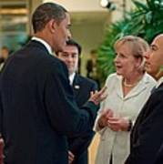 President Obama Talks With German Poster