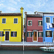 Primary Colors In Burano Italy Poster