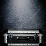 Protective Luggage Case On Stainless Steel. Poster