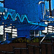 Pueblo Downtown Blue Abstract Poster