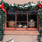 Pueblo Pottery Winter Window Poster