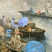 Punts On The Wey At Brooklands Poster