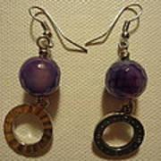 Purple Doodle Drop Earrings Poster