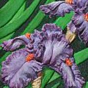 Purple Iris Flowers Sculpture Poster