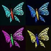Quad Butterflies Poster