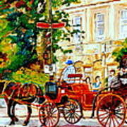 Quebec City Street Scene The Red Caleche Poster