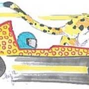 Race Car And Cheetah Cartoon Poster