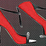 Raging Red Open Toed Stilettos Poster
