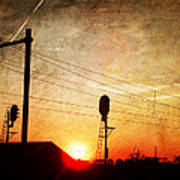Railroad Sunset Poster