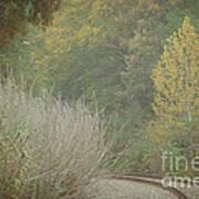 Rails Curve Into A Dreamy Autumn Poster