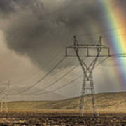 Rainbow Forms Over Powerlines Poster