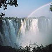 Rainbow In Front Of Victoria Falls Poster