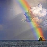 Rainbow On Birdrock- St Lucia. Poster