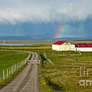 Rainbow Over Iceland Farm Poster