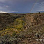Rainbow Over The Rio Pueblo Poster