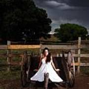 Ranch Woman On Wagon Poster