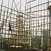 Rare Bamboo Scaffolding Used In Hong Poster
