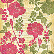 Raspberry Sorbet Floral 1 Poster