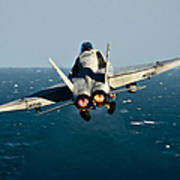 Rear View Of An Fa-18c Hornet Taking Poster
