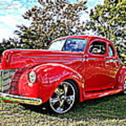 Red 1940 Ford Deluxe Coupe Poster