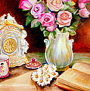 Red And Pink Roses And Daisies - The Doves Of Peace-angels And The Bible Poster