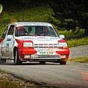 Red And White Renault 5 Poster