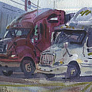 Red And White Trucks Poster
