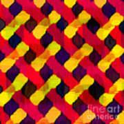 Red And Yellow Basketweave Bias Poster