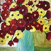 Red And Yellow Bouquet In Blue Poster
