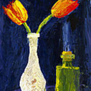 Red And Yellow Tulips In Vase Abstract Palette Knife Painting Poster