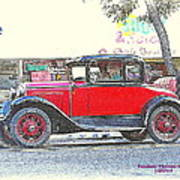 Red Antique Rumble Seater Poster