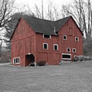 Red Barn In Black And White Poster by Randy Edwards