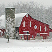 Red Barn In Heavy Snow Poster