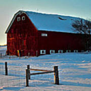 Red Barn In Winter ... Poster
