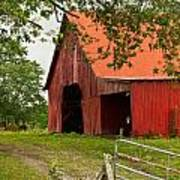 Red Barn With Orange Roof 1 Poster