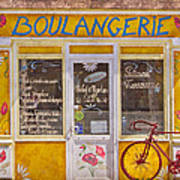 Red Bike At The Boulangerie Poster