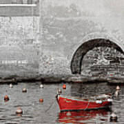 Red Boat In The Harbor At Vernazza Poster