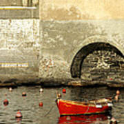 Red Boat In Vernazza Harbor On The Cinque Terre Poster