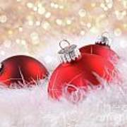 Red Christmas Balls With Abstract Background Poster
