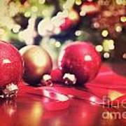 Red Christmas Ornaments With Vintage Look  Poster