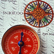 Red Compass And Rose Compass Poster