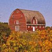 Red Fall Barn Poster