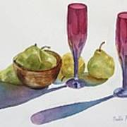 Red Flutes And Pears Poster by Bobbi Price
