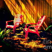 Red Garden Chairs Poster