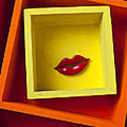 Red Lips In Yellow Box Poster