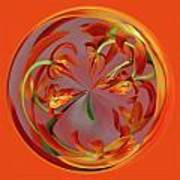 Red Orange Orchid Orb Poster