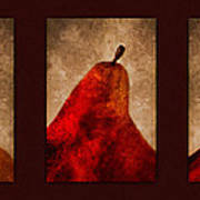 Red Pear Triptych Poster