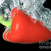 Red Pepper Falling Into Water Poster