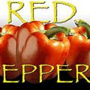 Red Peppers On White And Black Poster